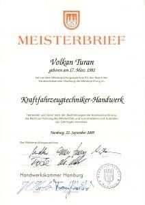 Meisterbrief Volkan Turan