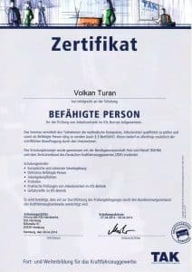 Tak Prüfung Arbeitdsmittel im KFZ